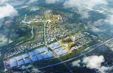 济南先行区绿地国际会展中心一期开始封顶作业
